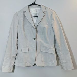 White Blazer with Gray Pinstripes Size 6